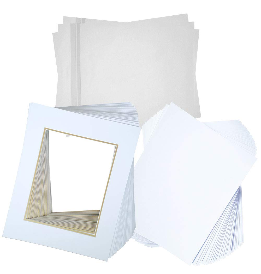 Hall of Frame Pack of 25 16x20 Double Picture Mats with White Core Bevel Cut for 11x14 Picture Matte Sets + Backing + Bags, White Over Gold (16x20 Complete Set)