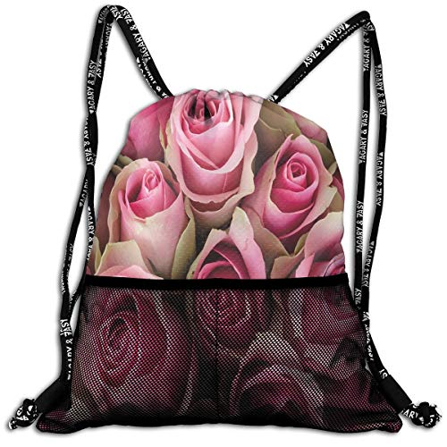 Drawstring Backpacks Bags,Blooming Pink Roses Festive Bridal Bouquet Romance Sweetheart Love Valentines,Adjustable