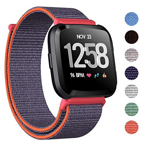 CAVN Nylon Bands Compatible with Fitbit Versa/Versa Lite Bands for Women Men, Breathable Watch Strap Adjustable Closure Replacement Wristband Accessories (Hot Pink) ()