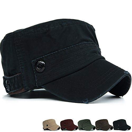 (Rayna Fashion Men Women Soft Washed Cotton Adjustable Flat Top Military Army Hat Cadet Cap Big Head Size Black)