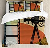 Movie Theater Bet Set 4pcs Bedding Sets Duvet Cover Flat Sheet with Decorative Pillow Cases Twin Size for Kids Adults Teens-Abstract Retro Style Colorful Composition with Projection and Strip Border