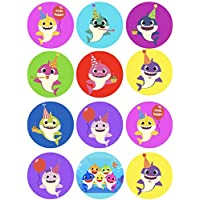 """LC - Shark Stickers Birthday Party Supplies for Goodie Bags Party Favors Infant Toddler Large 2.5"""" Round to Place on Party Favor Bags, Cards, Boxes or Containers, Candy Bars, notebooks,12 pcs, Mommy Shark Daddy Grandpa Grandma"""