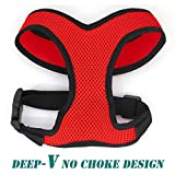 Leepets Soft Mesh Dog Harness for Small Dog No Choke Deep-V Design Lightweight Comfort Padded Puppy Vest Harness Breathable Adjustable, L, Red