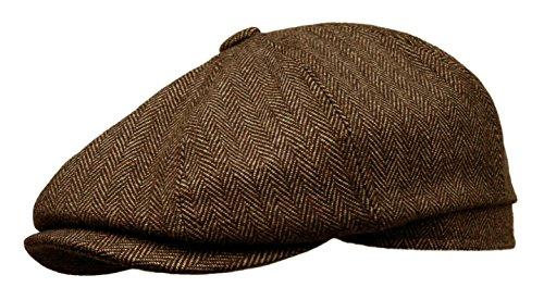 Wool Tweed Newsboy Gatsby Ivy Cap Golf Cabbie Driving Hat (X-Large, Dark Brown) ()