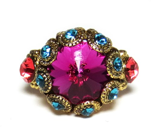 """Mariana Gold Plated """"Daphne"""" Swarovski Crystal Adjustable Flower Dome and Crystal Pair Ring"""