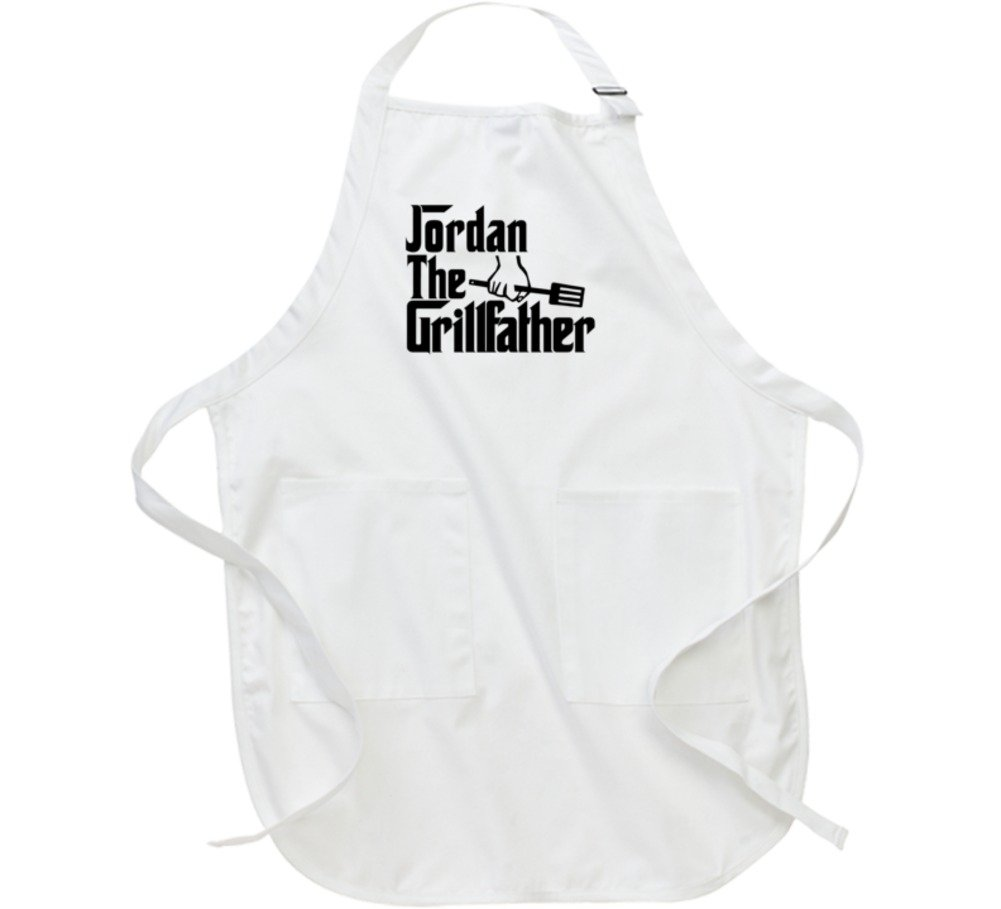 Jordan the Grillfather Godfather Parody Father's Day Gift BBQ Apron L White