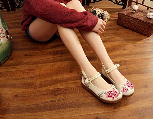 Shoes Shoes Ballet Dance Chinese Espadrilles Women's Embroidered and Flats Shoes Beige Spring Summer Embroidered Shoes Style 44wPtq