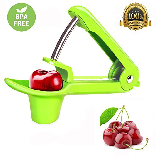 Cherry Pitter- Tekcast Olive and Cherry Pitter Remover Stoner Tool with Food-Grade Silicone Cup, Space-Saving Lock Design and Lengthened Splatter Shield Dishwasher Safe