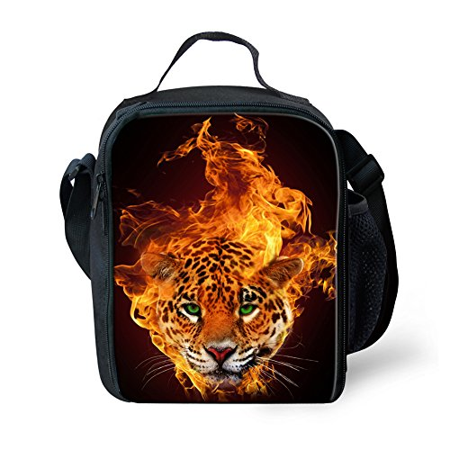 Cool Punk Fire Leopard Boys School Lunch Thermal Bags Outdoor Picnic ()