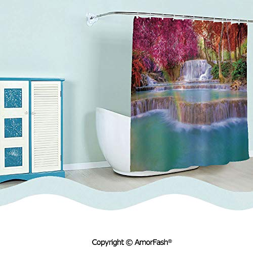 Extra Long,Watercolor Home Decor Shower Curtain,Fabric Bathroom Decor Set with Hooks,72 x 72 inches,Waterfall Decor,Rain Forest in Vietnam Laos with Asian Pink and Orange Trees side of River Image,Blu -