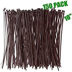 Wide 10 Inch 150 Pack Strong Wood Brown Color Standard Durable Cable Zip Ties Wood Color--Outdoor, Garden, Office and Kitchen Use