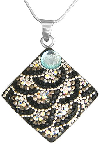 Dreamglass Mexico Mosaico Sterling Silver Dichroic Glass and Preciosa Czech Crystals Square Pendant Necklace - 8562I