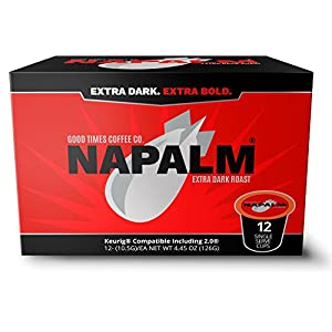 Napalm Coffee, EXTRA DARK ROAST, 100% Arabica, Single Serve Cups for Keurig K-Cup Brewers, 12 Count