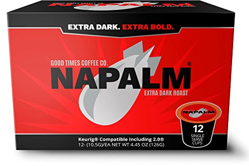 Napalm Coffee, EXTRA DARK ROAST, 100% Arabica, Single Serve Cups for Keurig K-Cup Brewers, 72 Count