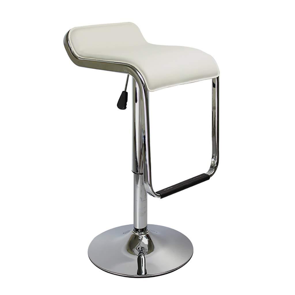 HENGGE 回転バーチェア、レザーレットの外観、調節可能なフットスツール背もたれ椅子、カウンター用、キッチン、カフェ、パブ (Color : White) B07SLQYWYW White