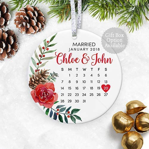 floral personalized wedding gift with date for newly married couple first christmas married ornament 2018