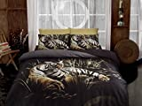 Deconation 3d 100% Cotton Comforter Set Full Size Tiger in Jungle Wildlife Bedding Set Quilt Doona Cover Sheets
