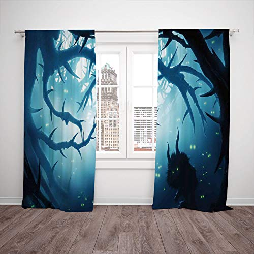 2 Panel Set Satin Window Drapes Kitchen Curtains,Mystic House Decor Animal with Burning Eyes in Dark Forest at Night Horror Halloween Illustration Navy White,for Bedroom Living Room Dorm Kitchen Cafe