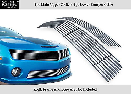 APS 304 Stainless Steel Billet Grille Grill Combo Compatible with 10-11 Chevy Camaro LT LS V6 N19-C72016C ()