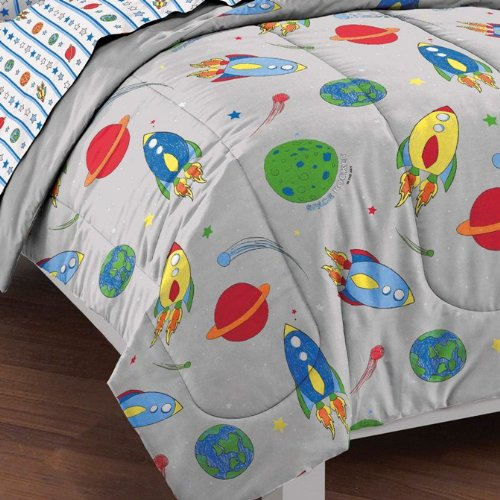 dream FACTORY Space Rocket Ultra Soft Microfiber Comforter Set, Multi-Colored, Twin by dream FACTORY