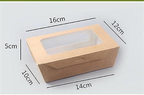 Papel de estraza alimentos caja cuadrada caja ensalada de comida para llevar de papel Kraft con ventana tapa para Takeout restaurantes, familia viaje, picnic, fiesta: Amazon.es: Hogar