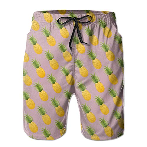 Men's Pineapple Quickly Drying Lightweight Fashion Board Shorts Swim Trunks XXL by COOA