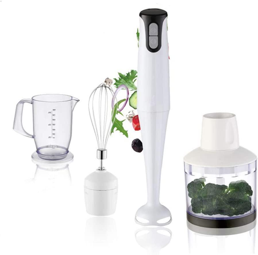 AILY Immersion Hand Blender, 5-in-1 8-Speed Stick Blender with 500Ml Food Grinder, BPA-Free,Milk Frother,Egg Whisk,Smoothies,Sauces and Soups-White