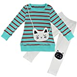 CHICTRY 2PCS Cartoon Little Girls' Cute Cat Bag Striped Long Sleeves Outfits Top Leggings Set Green 3-4