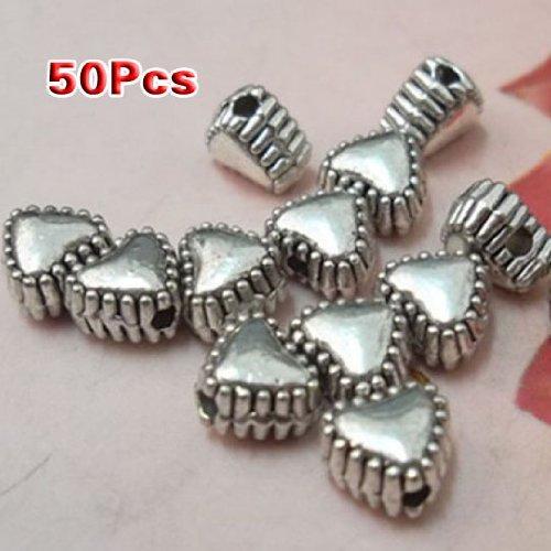 Gleader50pcs Tibetan Silver Sweet Heart Spacer Metal Beads 6mm ~Jewelry Findings~ ()