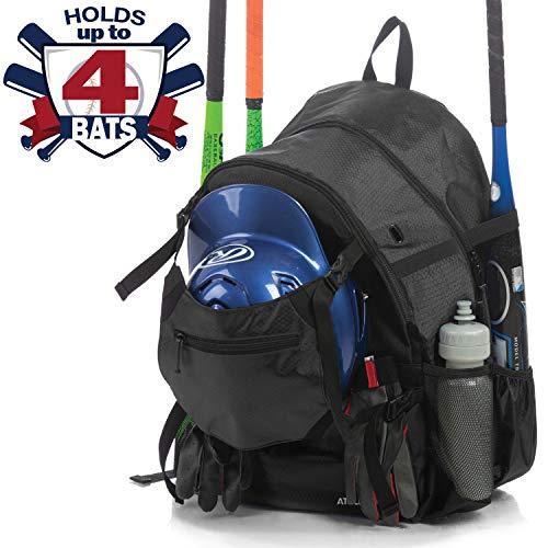 Athletico Advantage Baseball Bag - Baseball Backpack with External Helmet Holder for Baseball, T-Ball & Softball Equipment & Gear for Youth and Adults | Holds Bat, Helmet, Glove, Shoes (Black) -