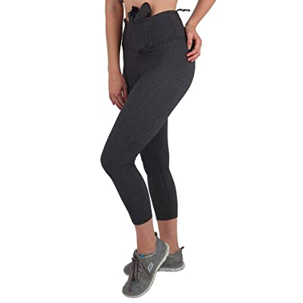 56489c6f4fc32 UnderTech UnderCover Women's Original Concealed Carry Leggings Crop Length  in Gray (2X-Large,