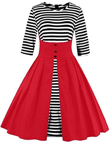 [Women's Cotton Patchwork 1950s Vintage Stripe 3/4 Sleeve Party Swing Dress] (1940s Dance Costumes)