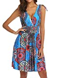 LuckyMore Women's Fit and Flare Cocktail Party Dresses Swing Midi Dress Royal Blue S