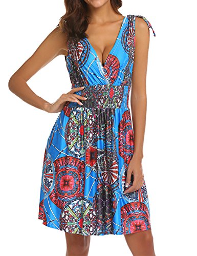 LuckyMore Women's V-Neck Retro Casual Low-Cut Floral Printed Summer Above Knee Dresses Royal Blue XL
