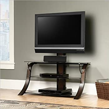 sauder veer panel tv stand with tv mount sgs nonwood finish