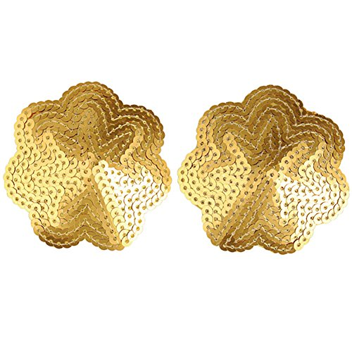 Sexy Gold Sequin (Ayliss 2pcs Women's Sexy Nipple Cover Sequin Gold Star Exotic Pasties)