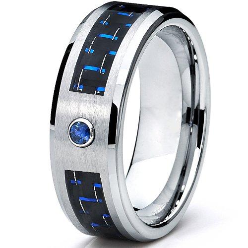 Bien-aimé Ultimate Metals Co. 8MM Bague De Mariage Tungstène Avec Bleu  WH25