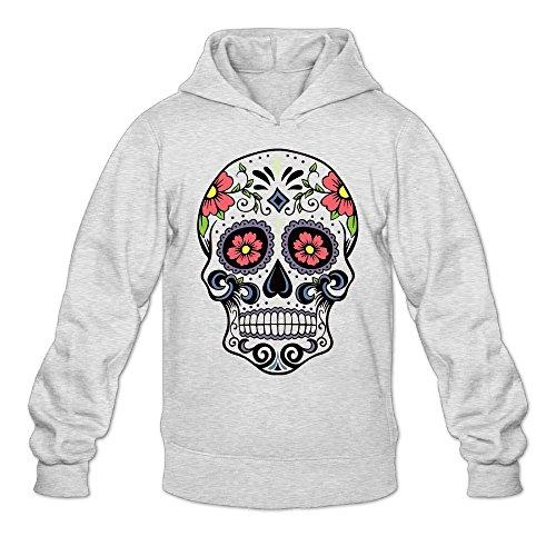 Halloween Sugar Skull Colorful Men's Hooded Sweatshirt Mens Pullover Hoodie Hooded Sweatshirt (Skull Halloween Makeup Tutorial)