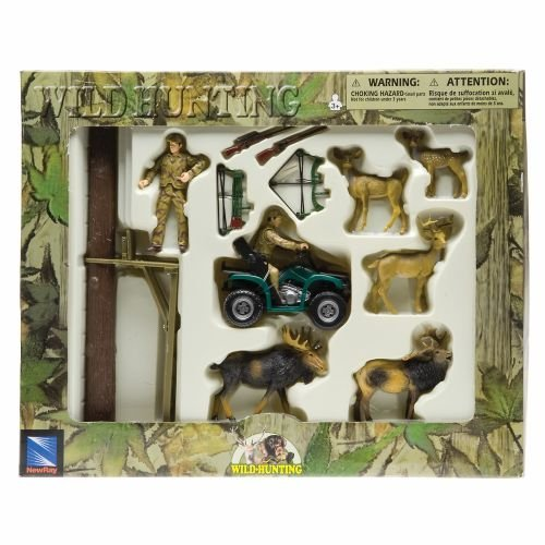 New Ray Wildlife Hunter Playset - Deer and Moose with Tree Stand and 4-wheeler ()