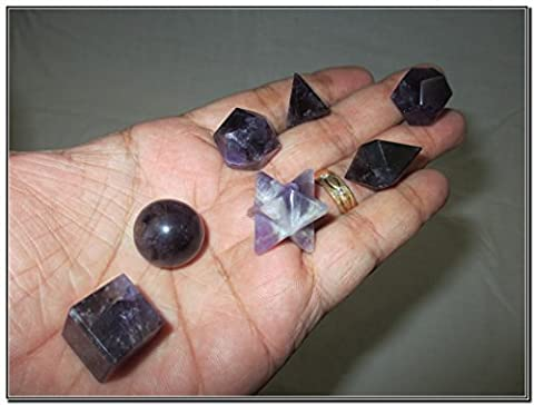 Wow A++ Amethyst 7 Stones Sacred Geometry Sets Gemstone Platonic Solid Top Grade Quality Merkaba Star w/ Velvet Pouch Attractive Cleansing Life (Amethyst Stone Set)