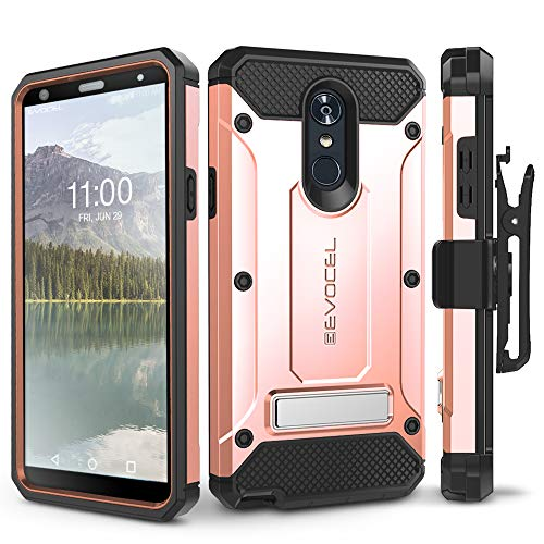 (LG Stylo 4 Case, Evocel [Explorer Series Pro] Premium Full Body Case with Glass Screen Protector, Belt Clip Holster, Metal Kickstand for LG G Stylo 4 (2018), Rose Gold (EVO-LGSTYLO4-CC25) )