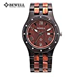 Bewell ZS-W109A Men Wooden Watch Quartz Movement Ebony with Red Sandalwood Dial Wristwatch (FBA)