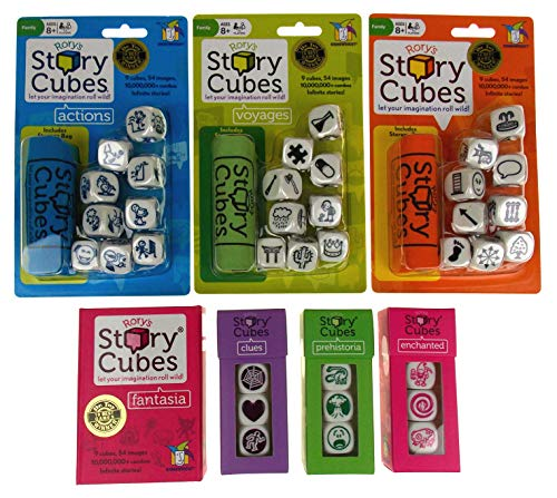 Rory's Story Cubes Bundle - Includes Rory's Story Cubes Original, Actions, Voyages, Fantasia, & Expansions Prehistoria, Enchanted, Clues (7 Items) - Enchanted Cube