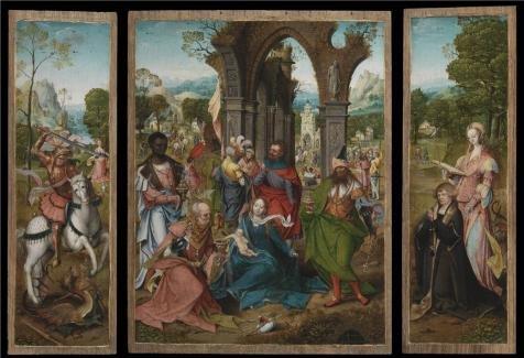 油彩画のマスター` The Antwerp Adoration、The Adoration of the Magi、について16世紀`印刷ポリエステルキャンバスに、8x 12インチ/ 20x 30cm、The Best Nurseryギャラリーアートとホームデコレーションとギフトはこのが安いアート装飾アート装飾プリントキャンバスの商品画像