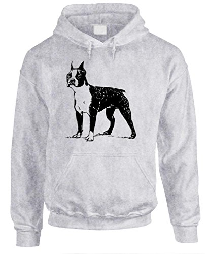 BOSTON TERRIER - vintage hipster style Pullover Hoodie, XL, Ash