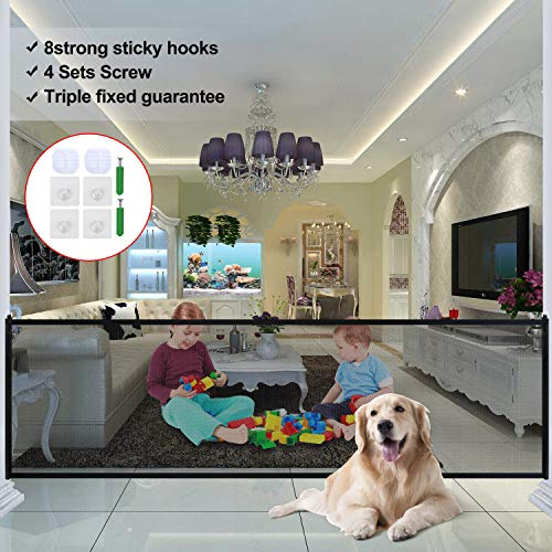 Dog Magic Guard, Upgraded Pet Safety Gate Portable Folding mesh Install Anywhere 70.9x28.3(in) Magic Gate with 8 Sticky Hook, 4 Sets Screw, 1Dog Bone(Black)