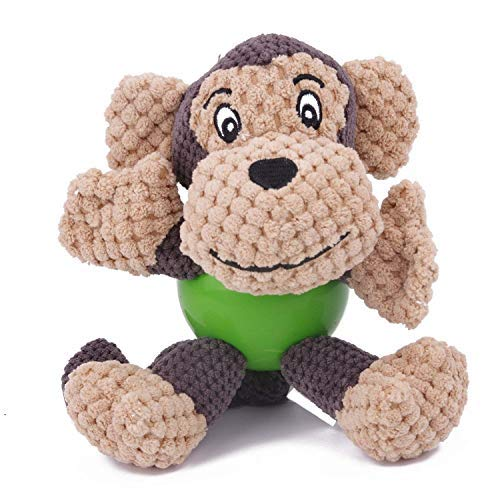EETOYS Durable Squeaky Plush Dogs Toys with Chew Guard Rubber Ball for Small Dogs (Monkey-New)