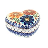 Polish Pottery Autumn Burst Large Heart Box