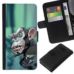 Protector de cuero de la PU de la cubierta del estilo de la carpeta del tirón BY RAYDREAMMM - Samsung Galaxy Core Prime - Mal Crazy Monkey Chimp