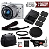 Canon EOS M100 Mirrorless Digital Camera with 15-45mm Lens (White) 2210C011 International Version (No Warranty) - Professional Bundle
